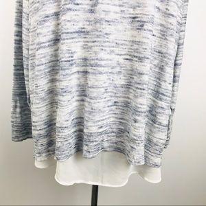 torrid Tops - Torrid SZ2 Blue Ivory Lace Up Back Two Fer Shirt